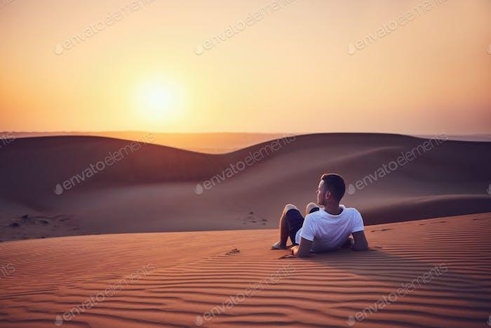 Idyllic sunrise in desert