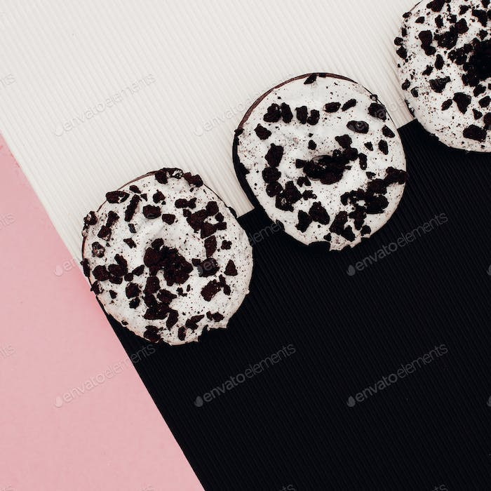 A set of donuts. Fashion Fast Food minimal art Surreal
