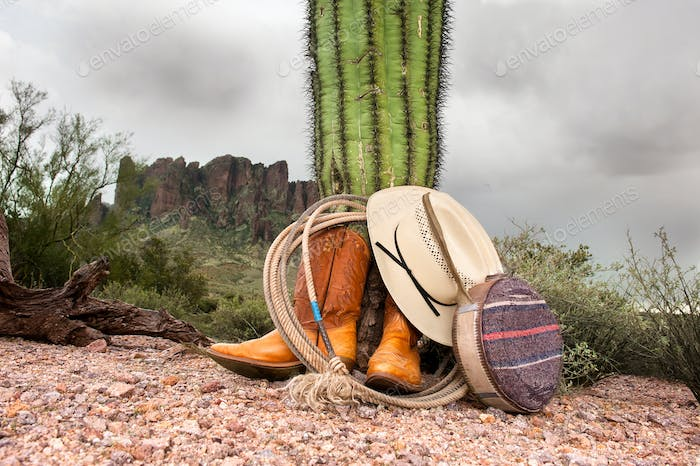 Cowboy items in desert