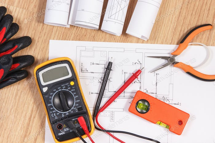 Electrical diagrams, multimeter for measurement
