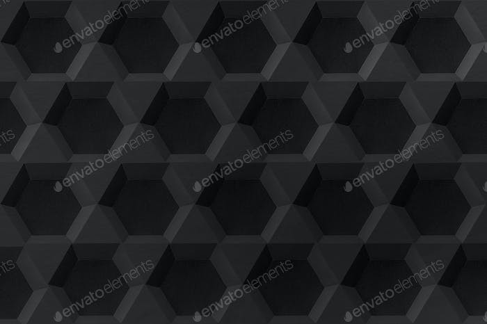 Black hexagon paper craft hexagon patterned background