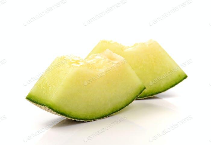 Melon , Melon cut piece on white background.