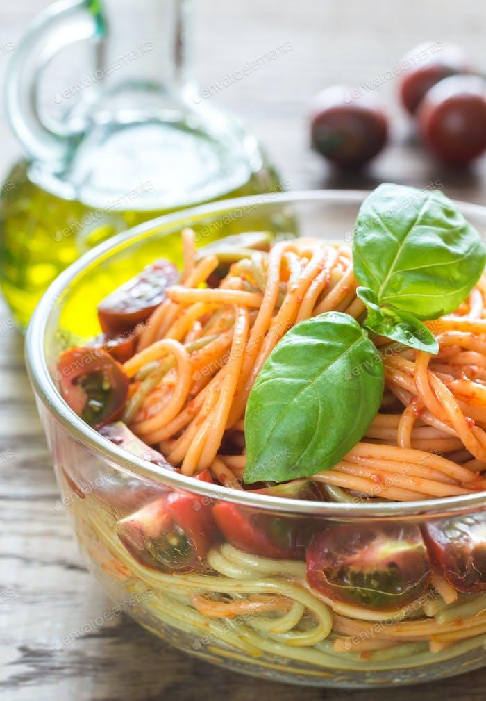 Bowl of colorful spaghetti