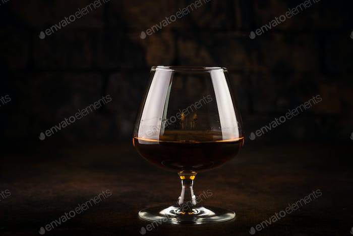 Cognac or brandy in the glass