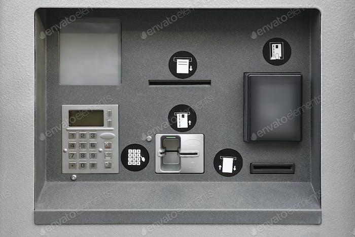 ATM automatisierter Bankautomat. Bankdienstleistungen und Plastik Bargeld.