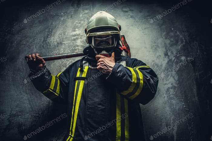 Rescue man in firefighter uniform.
