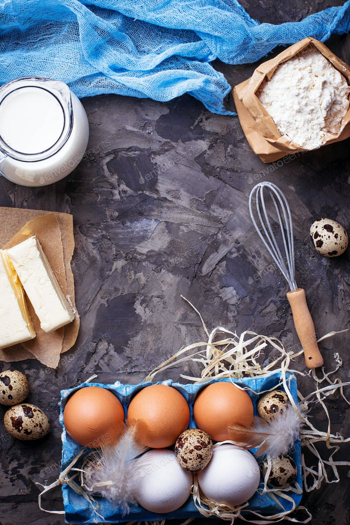Milk, butter, eggs, flour. Baking concept