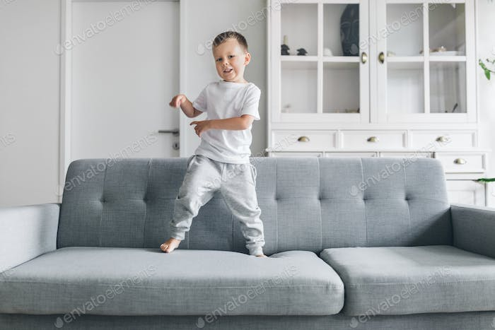 Cute child at home in the living room