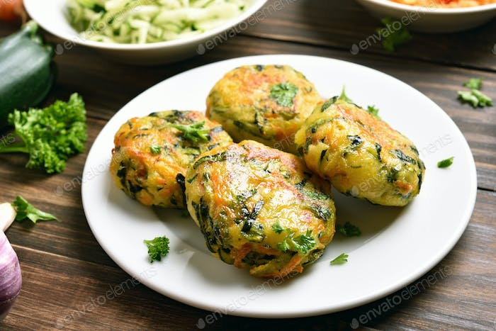 Vegetable cutlet from carrot, zucchini, potato