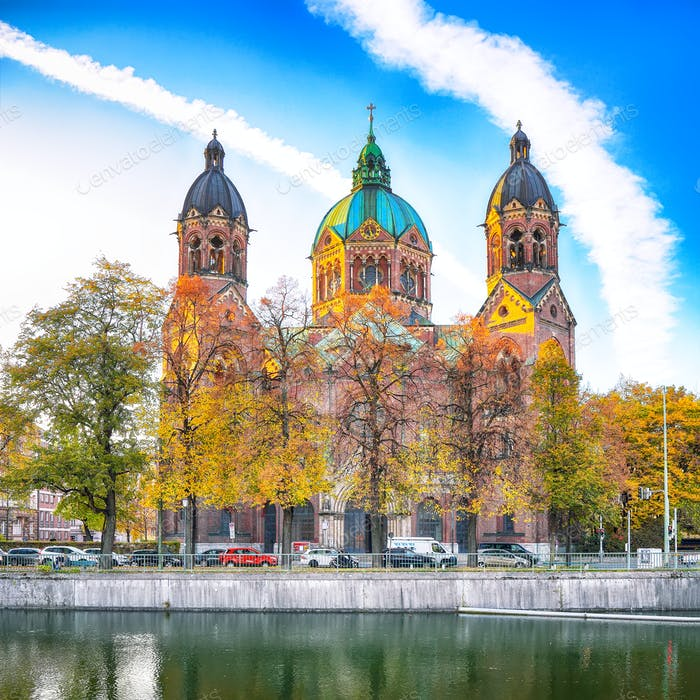Fantastic autumn view on Saint Lucas Church (Lukas kirche), the largest Protestant church in Munich
