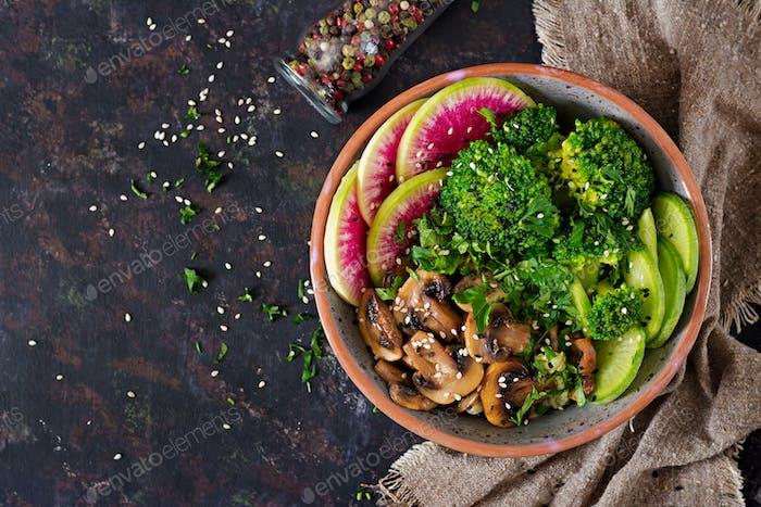 Grilled mushrooms, broccoli, radish salad.
