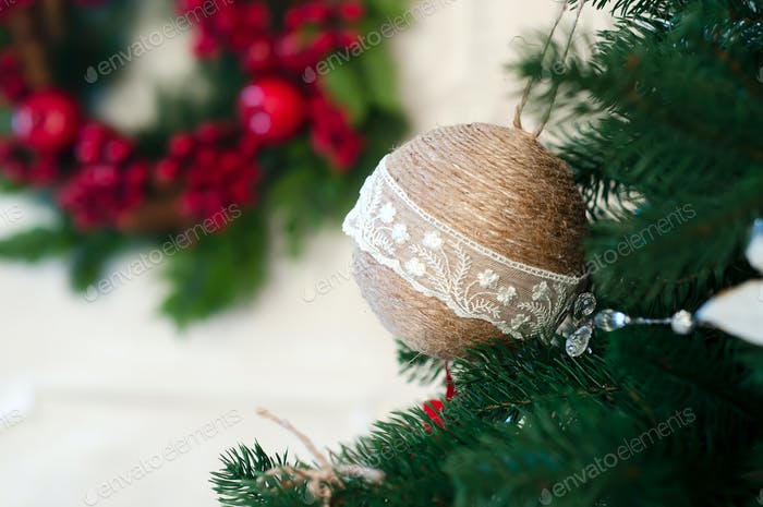 Closeup of Christmas-tree decorations.