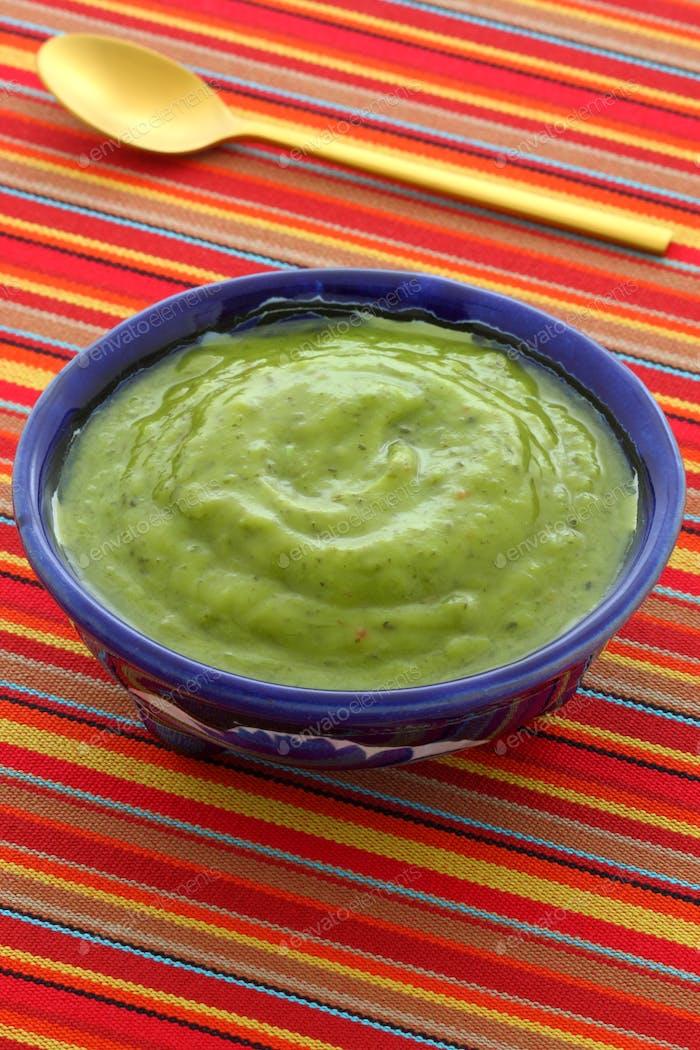 Delicious mexican guacamole dip