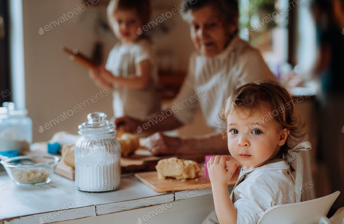 Senior grandmother with small toddler children making cakes at home.