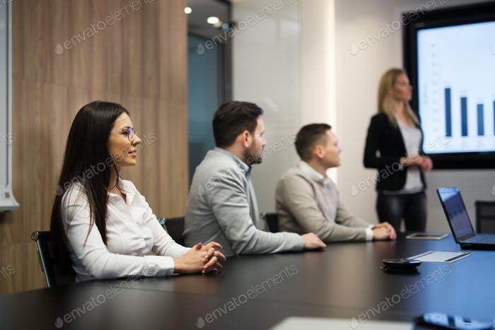 Young attractive businesswoman showing presentation to her colleagues