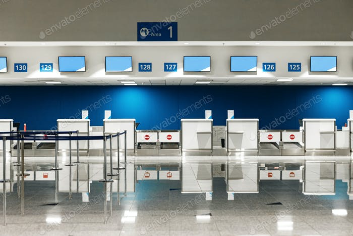 Airport check-in counters for background, no people