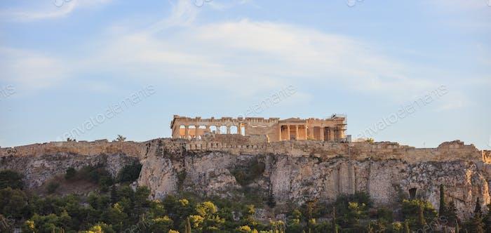 Athens, Greece. Acropolis rock and Parthenon