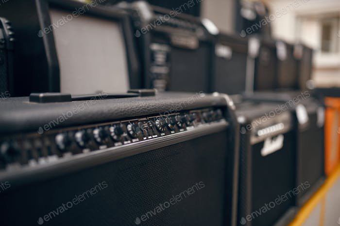 Sound combo amplifiers on showcase in music store