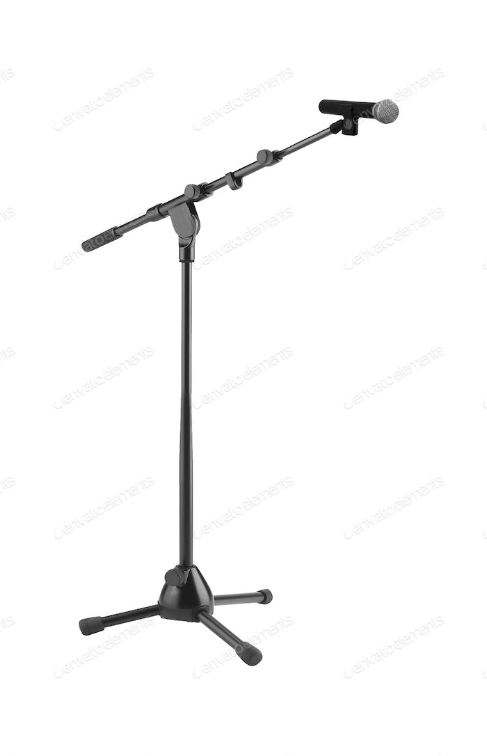 Microphone and stand isolated on white background