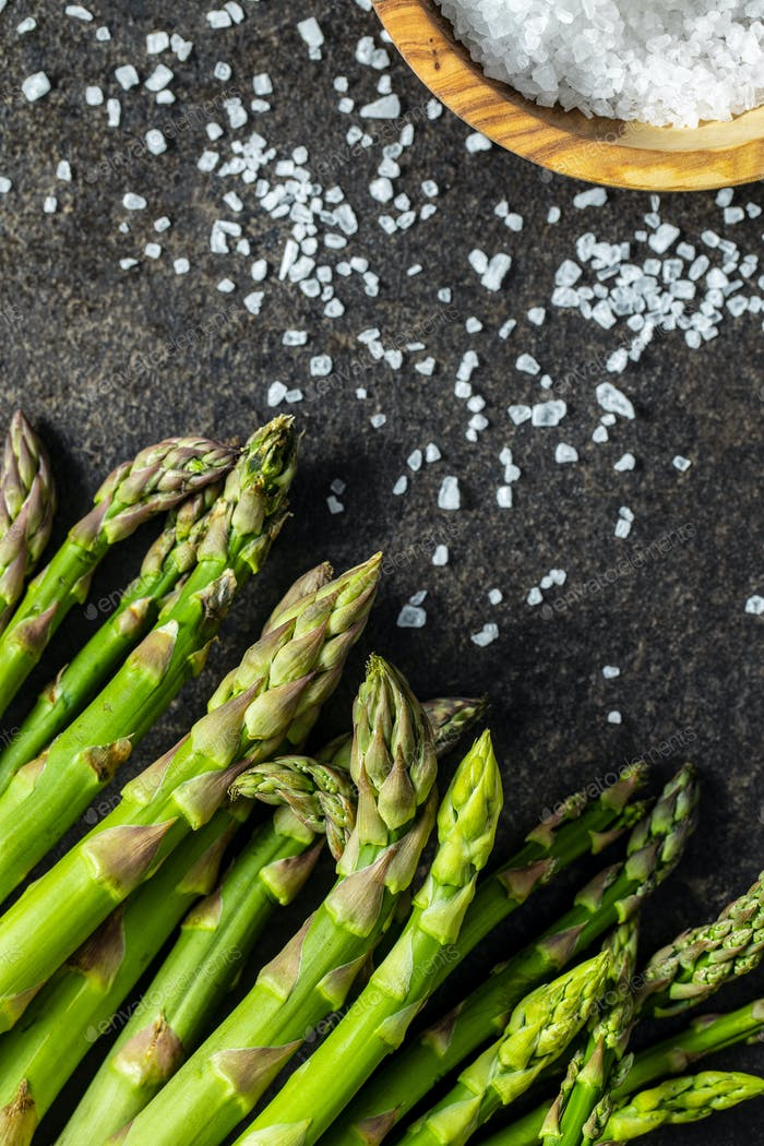 Fresh green asparagus. Healthy seasonal vegetable.