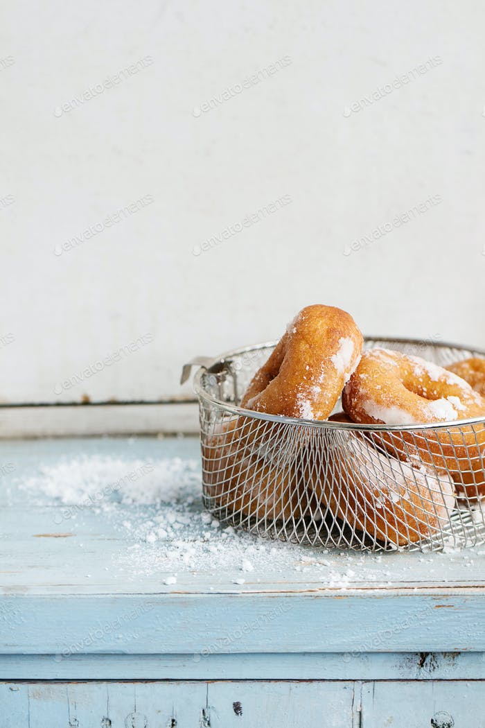 Homemade donuts with sugar powder