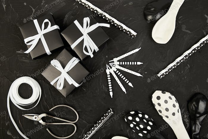 Birthday or Party accessories set with Gift boxes