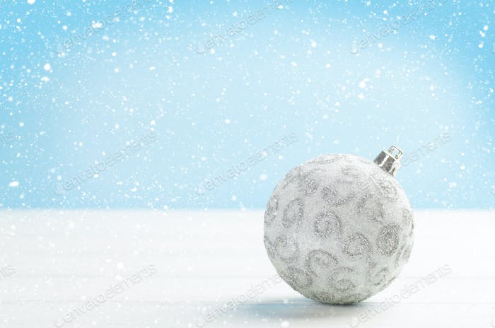 Christmas greeting card with bauble decor
