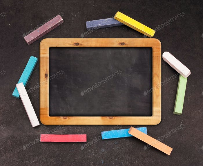Chalk blackboard with colorful chalk