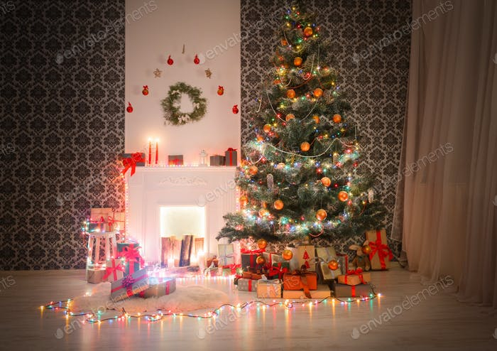 Christmas room interior design, decorated tree in garland lights