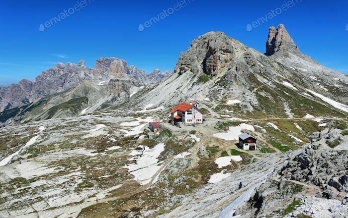 Rifugio Auronzo and Dolomites mountains in National Park Tre Cime di Lavaredo,Dolomites alps, Italy