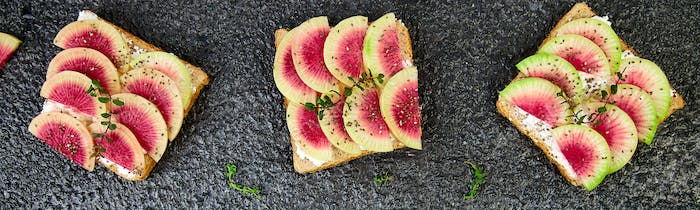 Banner of Healthy breakfast toasts from sliced watermelon radish