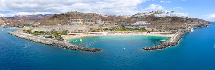 Panorama from the air of the beautiful Amadores beach at Gran Canaria