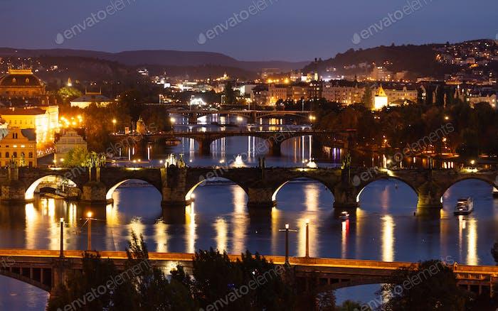 Bridges over Danube in Prague at night, Czech Republic, aerial view