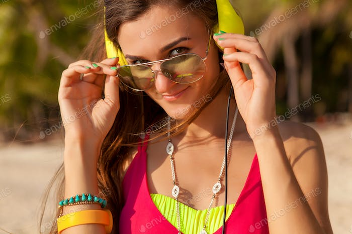 young hipster beautiful woman, tropical beach