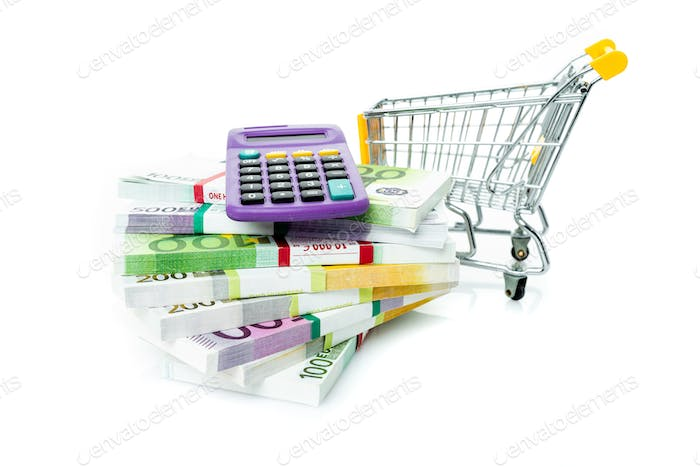 Shopping cart with euro, calculator isolated on white