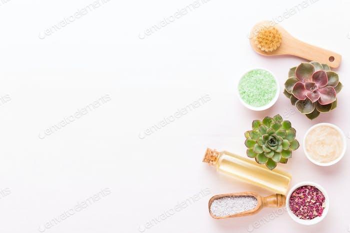 Spa background with handmade bio cosmetic.