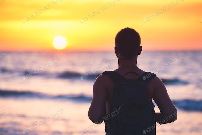 Idyllic sunset on the beach