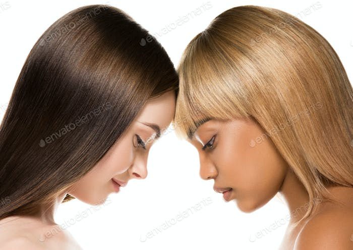 African caucasian beauty women two portrait. Clean skin ethnic concept