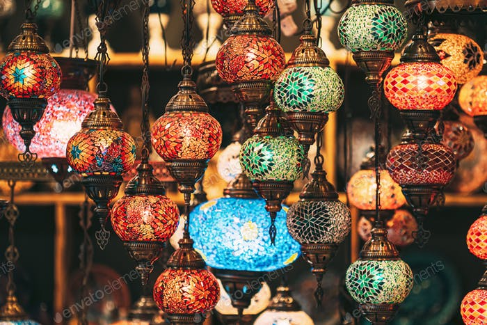 Turkey. Market With Many Traditional Colorful Handmade Turkish Lamps And Lanterns. Lanterns Hanging