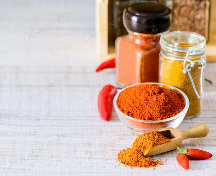 Paprika and Curry Powder Copy Space