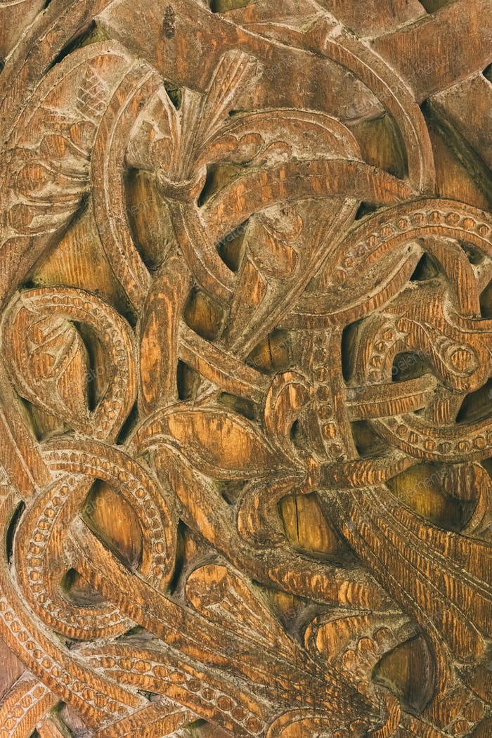 Borgund, Norway. Carved Details Of Famous Wooden Norwegian Landmark Stavkirke. Ancient Old Wooden