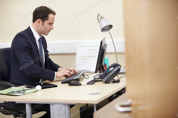 Male Consultant Working At Desk In Office