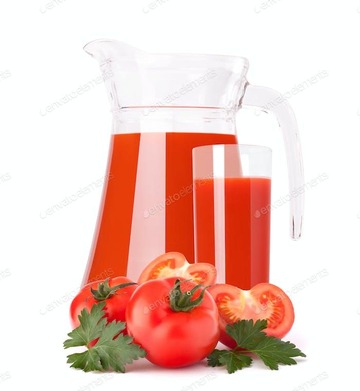Tomato vegetable juice in glass jug