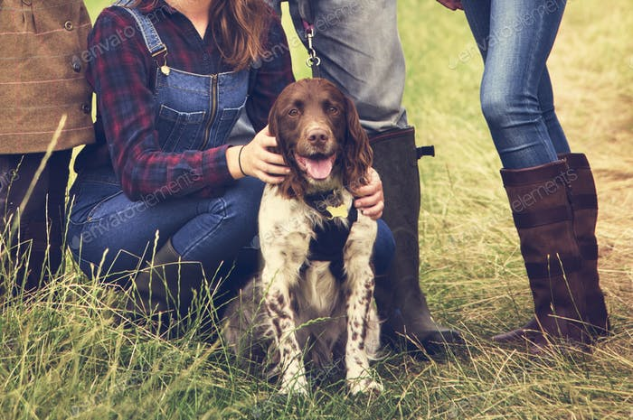 Family Dog Pet Happiness Togetherness Concept