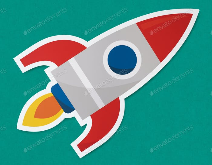 Rocket ship launching symbol icon