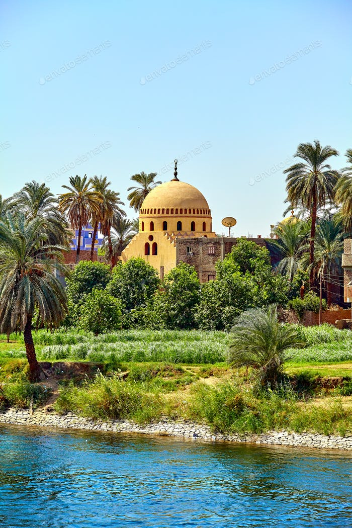temple of the coastline of the Nile river  Egypt