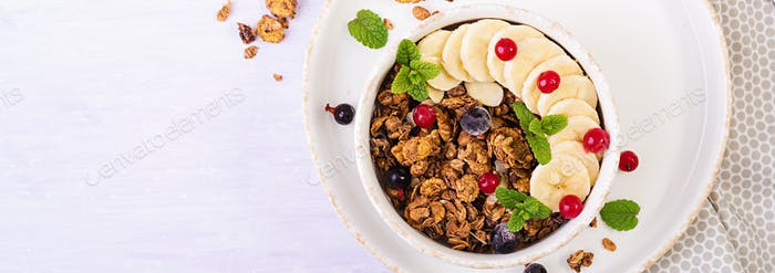 Breakfast. Bowl of homemade granola with yogurt and fresh berrie