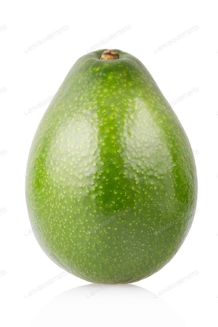 Avocado single fruit isolated on white, clipping path