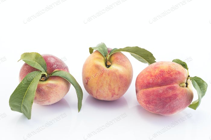 Three Peaches  Isolated on White Background