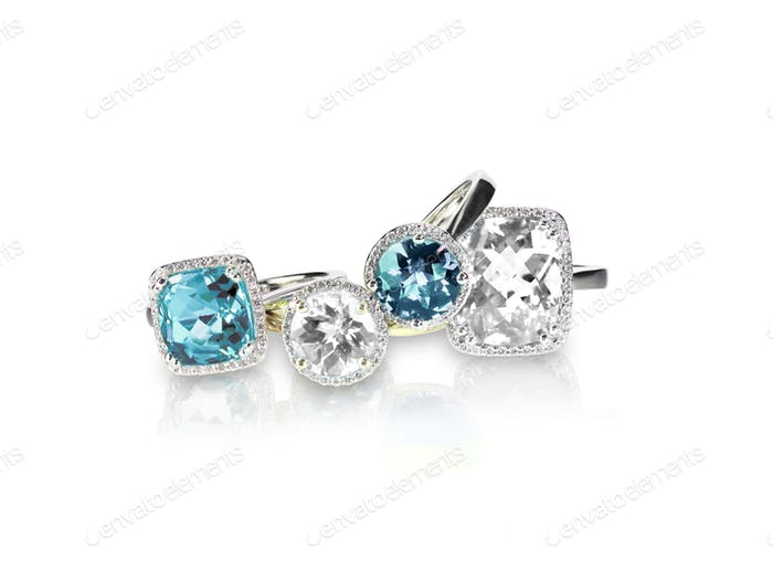 Set of blue topaz aquamarine rings gemstone fine jewelry multiple gemstone diamond rings.